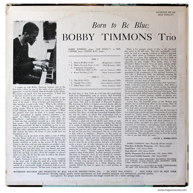 Bobby Timmons Trio - Born To Be Blue! - Vinyl Back