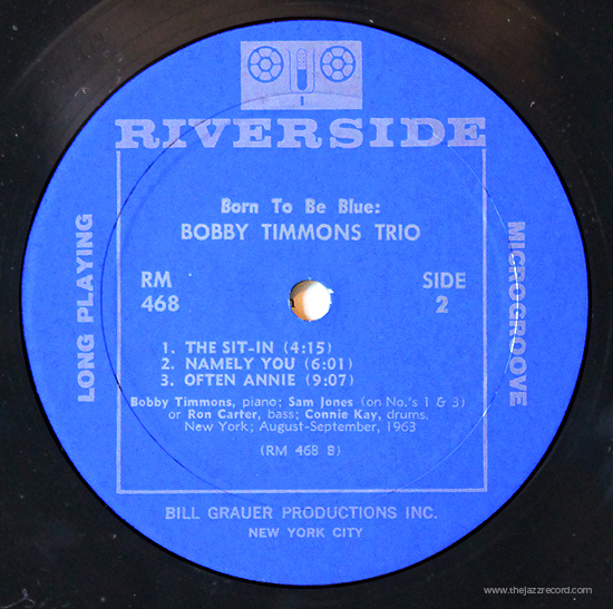 Bobby Timmons Trio - Born To Be Blue! - Vinyl Label