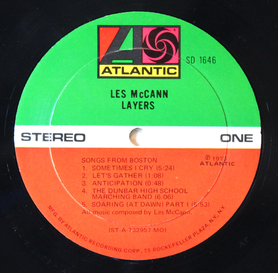 Les Mccann - Layers - Vinyl Label