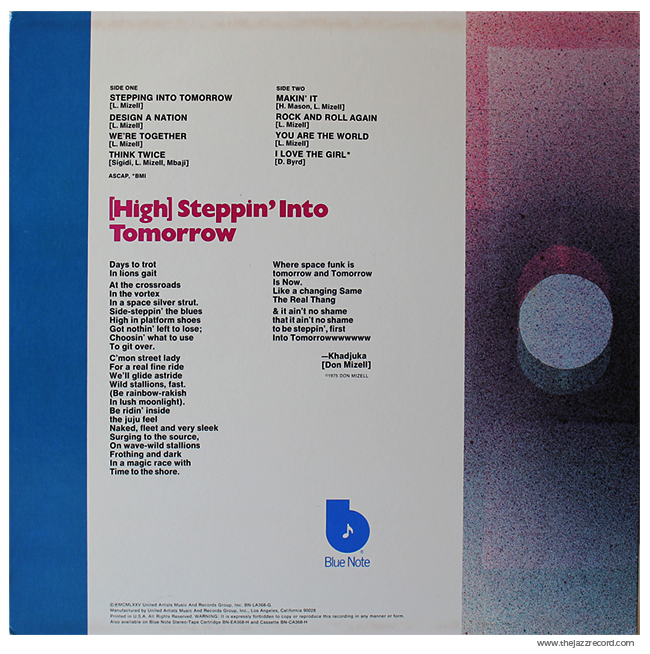 Donald Byrd - Stepping Into Tomorrow - Vinyl Back Cover