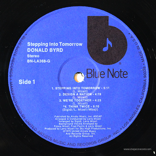 Donald Byrd - Stepping Into Tomorrow - Vinyl Label