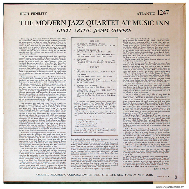 The Modern Jazz Quartet At Music In With Jimmy Guiffre - Back Cover Vinyl
