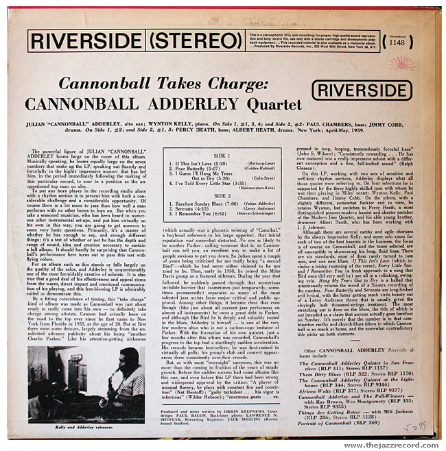 Cannonball Adderley - Cannonball Takes Charge - Vinyl Back Cover