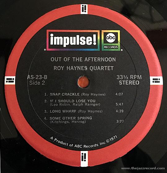 Roy Haynes Quartet - Out Of The Afternoon - Vinyl Label