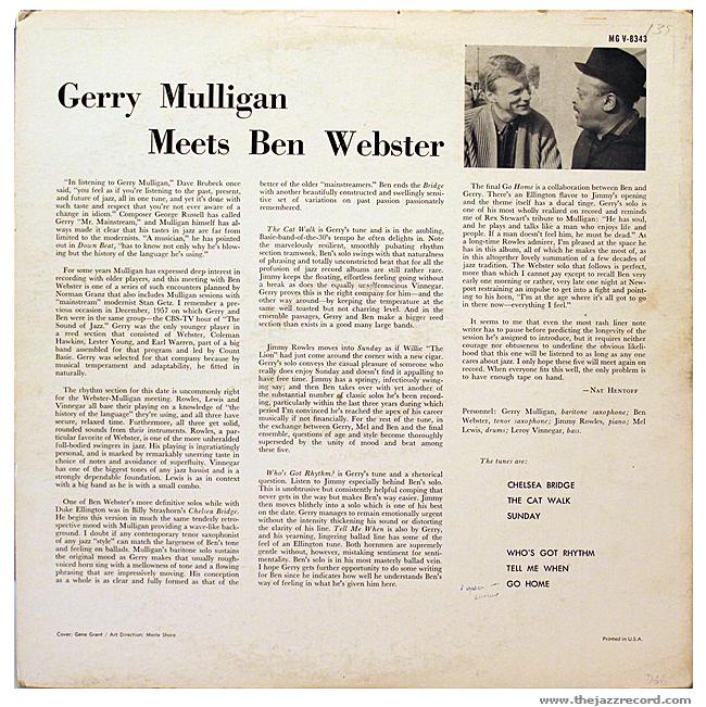 Gerry Mulligan Meets BEn Webster - Back Cover Vinyl
