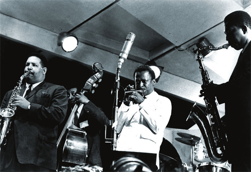 Miles, Adderley, Coltrane & Chambers at the Newport Jazz Festival in 1958