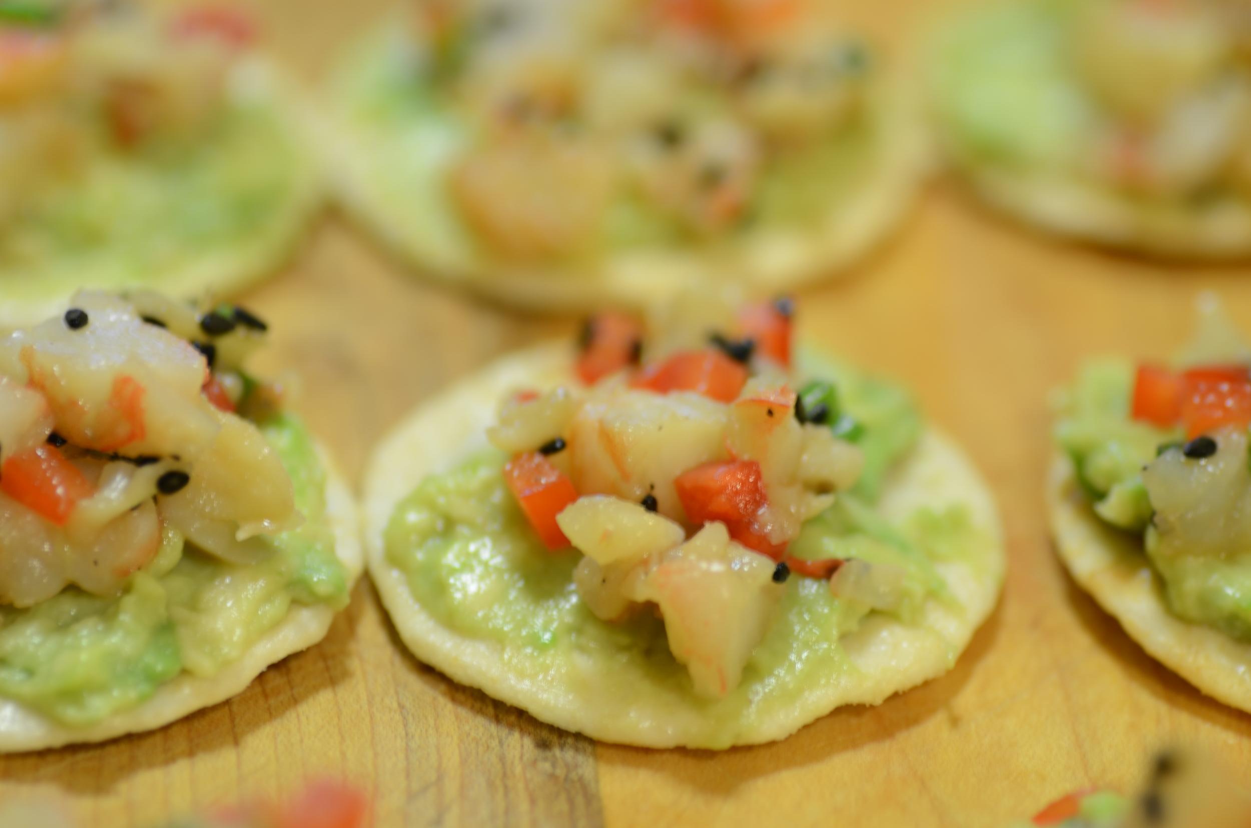 Crab Salad, Avocado on a Rice Cracker