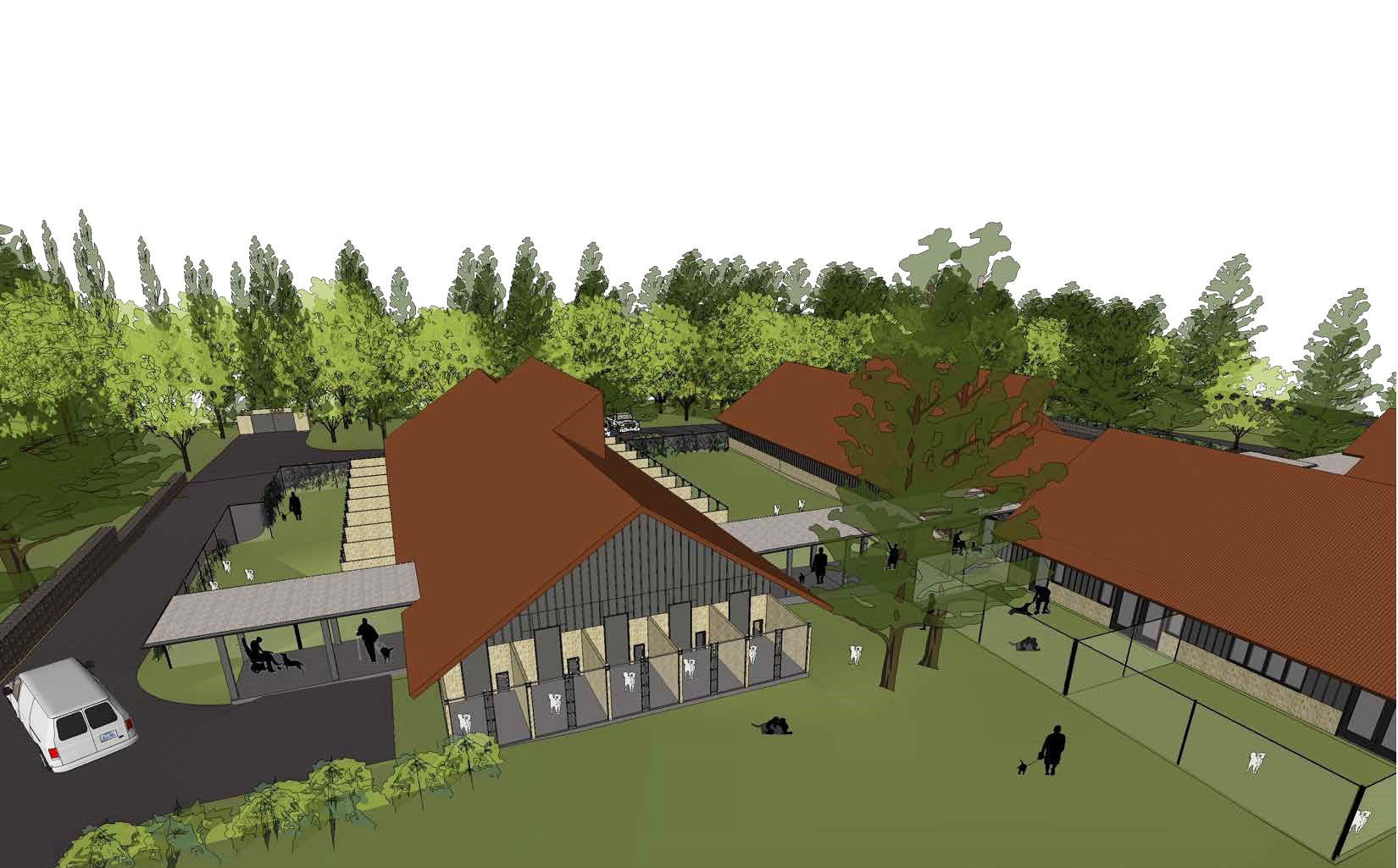 Campus site plan from south
