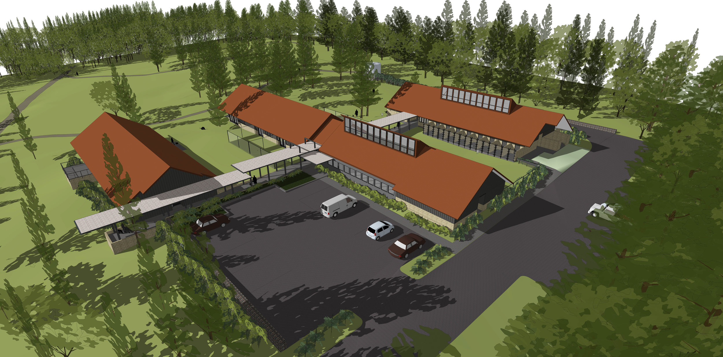 Campus site plan from north