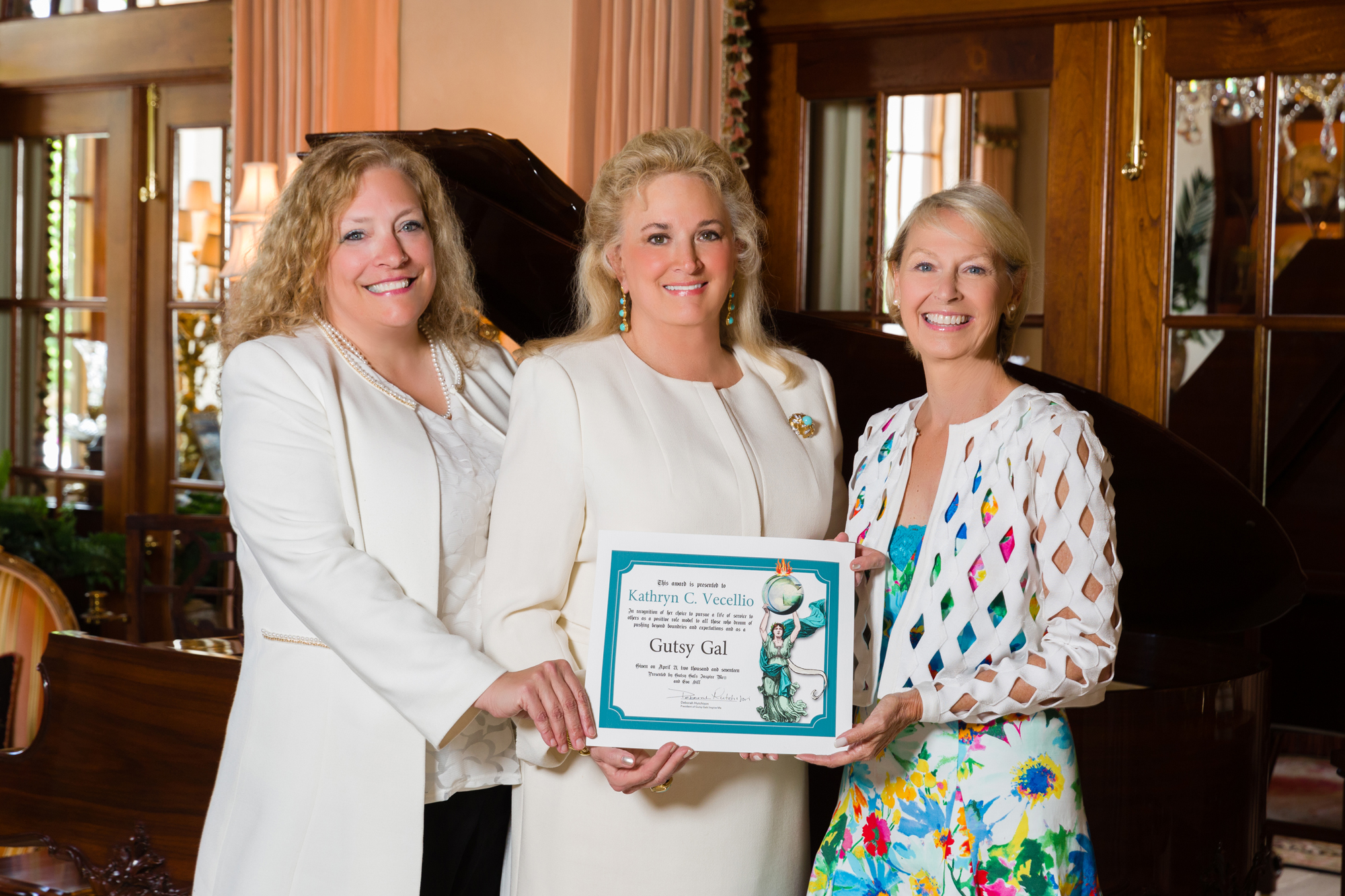 Past Award Honoree, Eva Hill, 2017 Charity Award Winner, Kathryn Vecellio and Gutsy Gal Award Founder, Deborah Hutchison