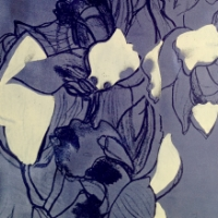 Discharge and pigment print on silk