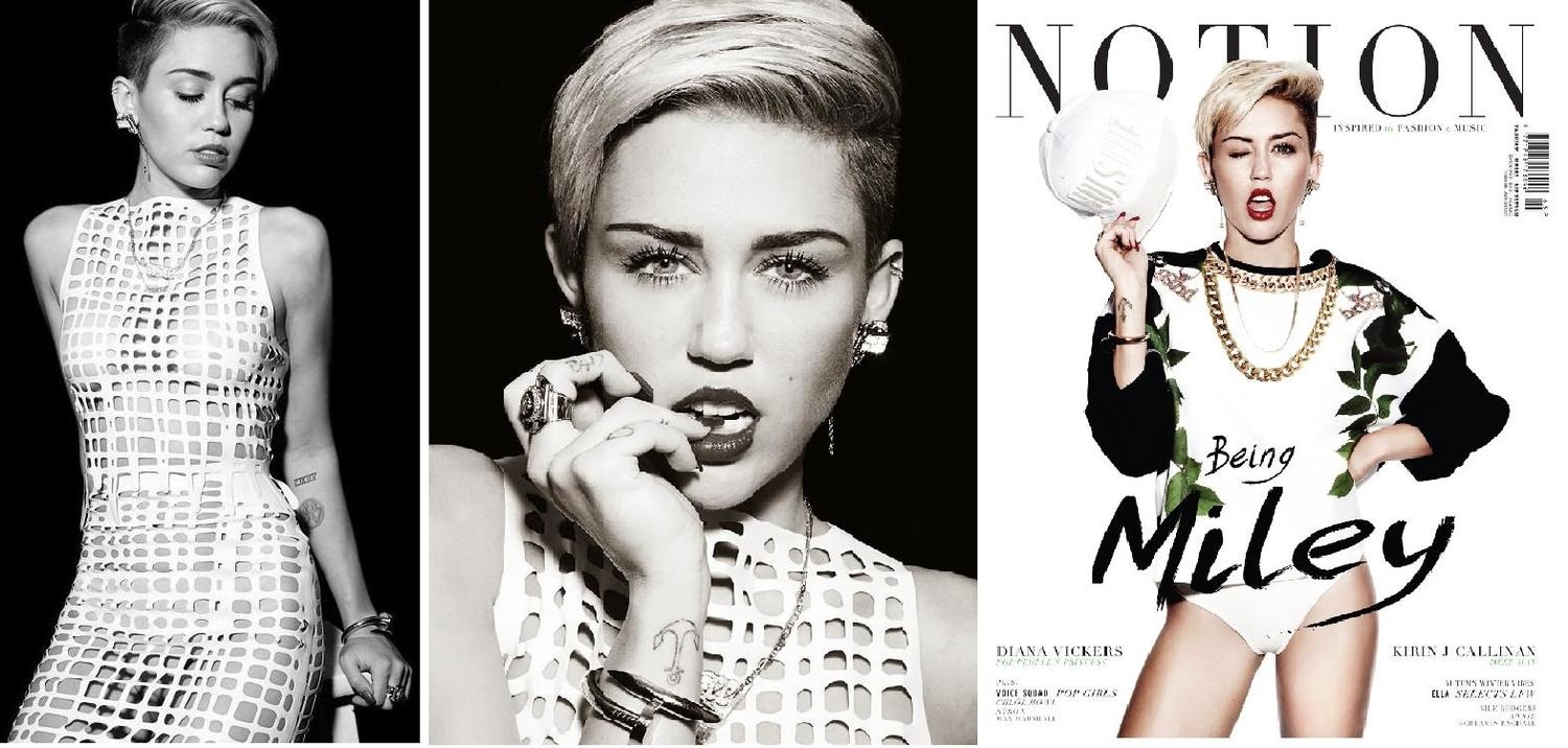 Net top and skirt for Miley Cyrus in Notion Magazine