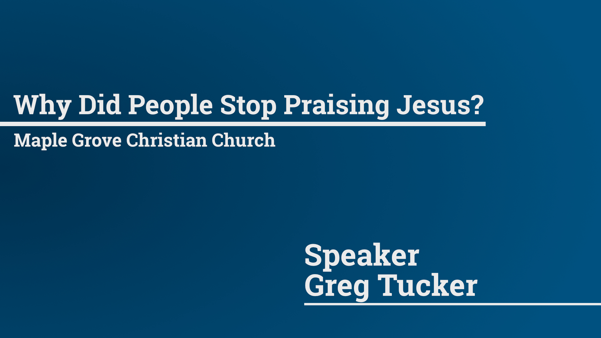 Why Did People Stop Praising Jesus? • March 29, 2015
