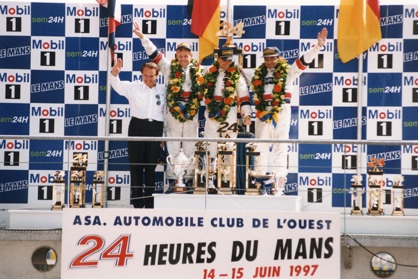 Stefan Johansson, Michele Alboreto, Tom kristensen Le Mans Podium 1997