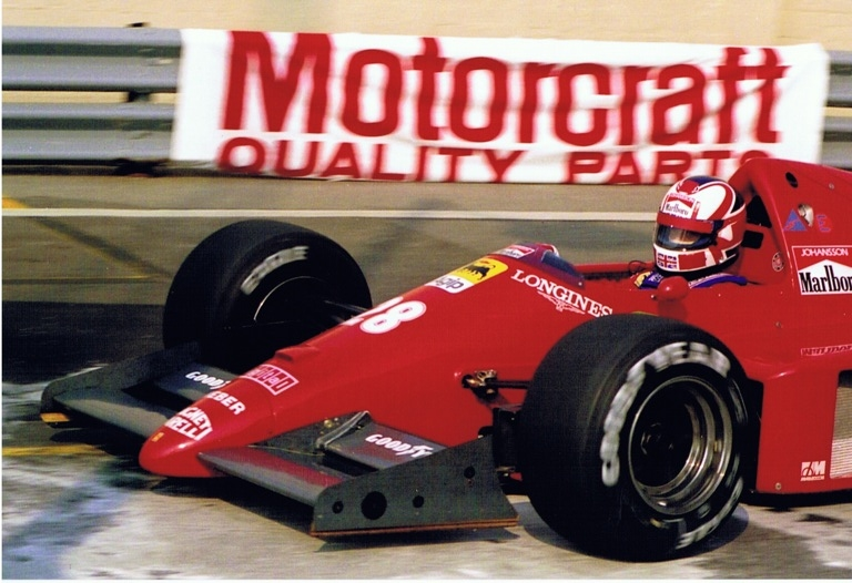 Stefan Johansson wearing mansell helmet Detrit 1986.jpg
