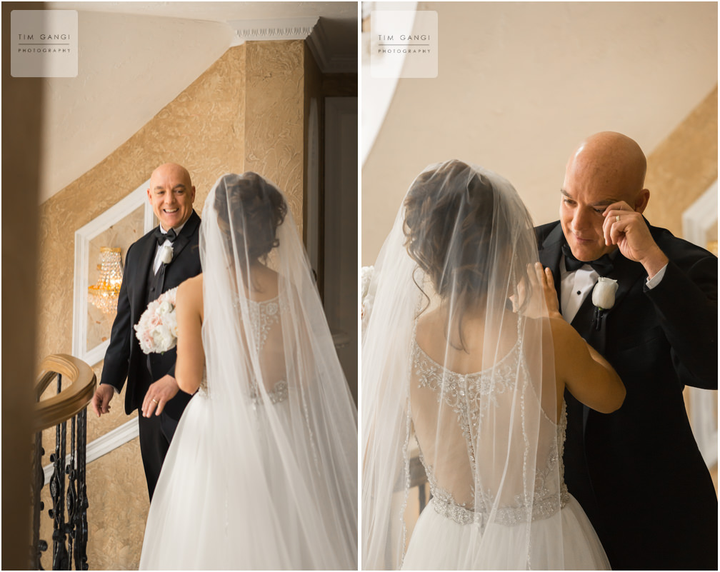Such a genuine and emotional first look with Kailey + her father before heading off to the ceremony.