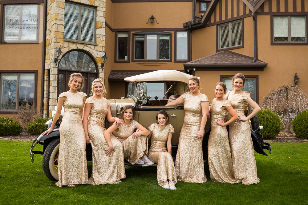 These Bridesmaids dresses look flawless with this vintage car and The Grand Estate as the backdrop.