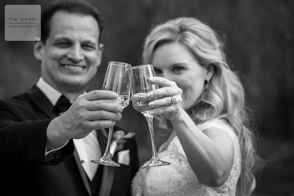 Cheers! A beautiful wedding toast.