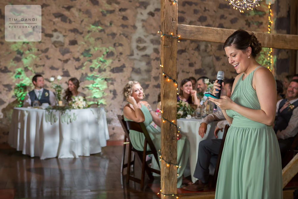 Kelsey matron of honor shared some cheerful moments during her speech.