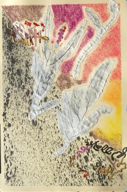 Closinginona 1, 24 x 31, mixed media collage on paper, 2010.