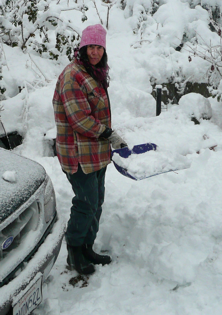 Cher with shovel