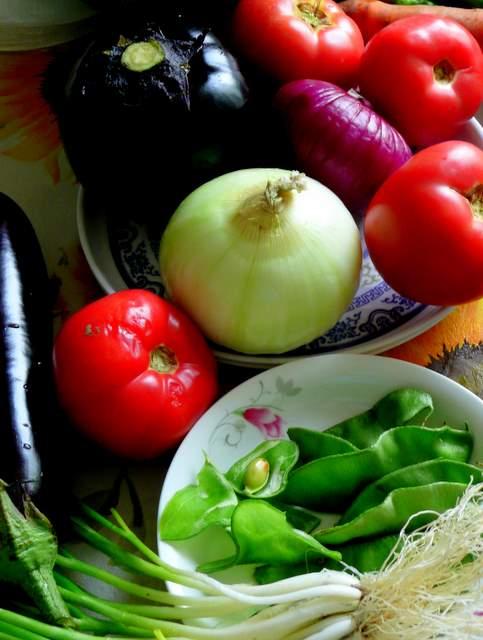 food still life with eggplant