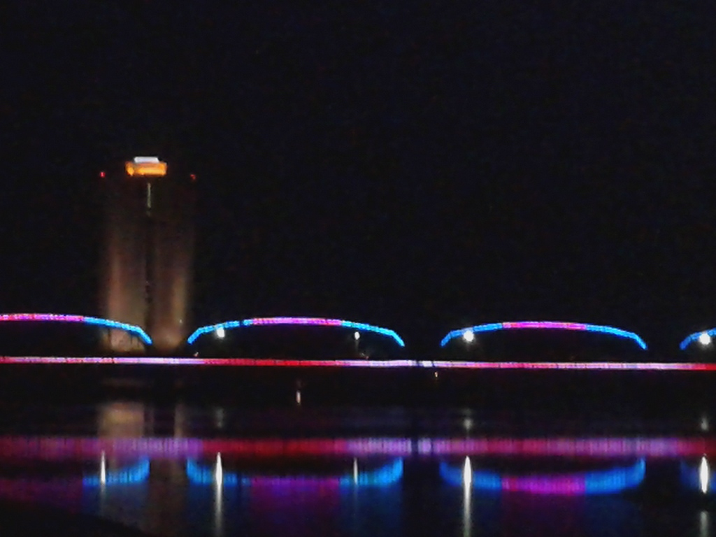 Night view with bridge lights