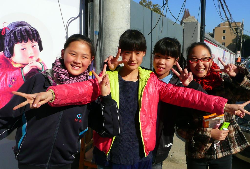 School girls vamping for the camera