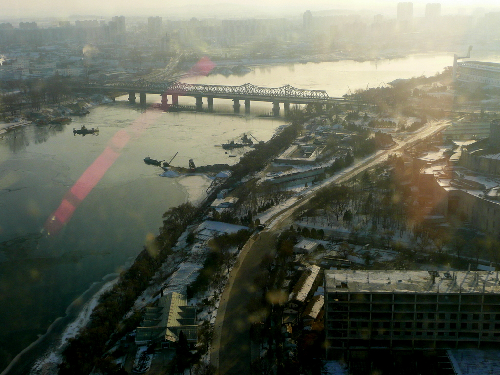 View from 40th floor Yanggakdo Hotel on the island