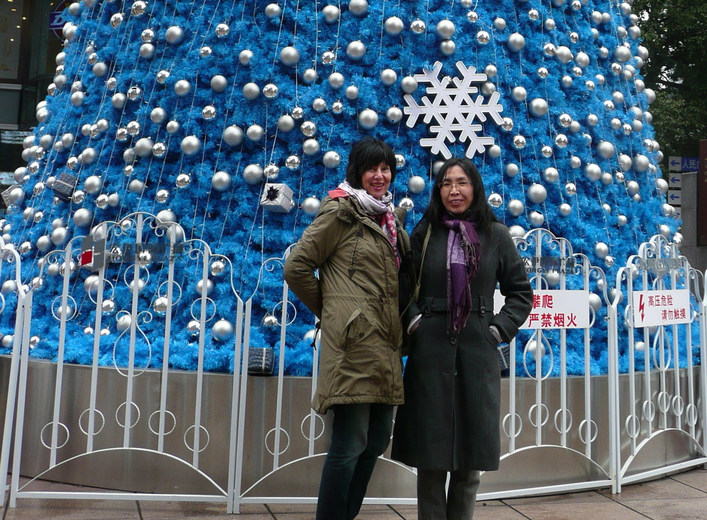 Blue tinsel tree Nanjing Road