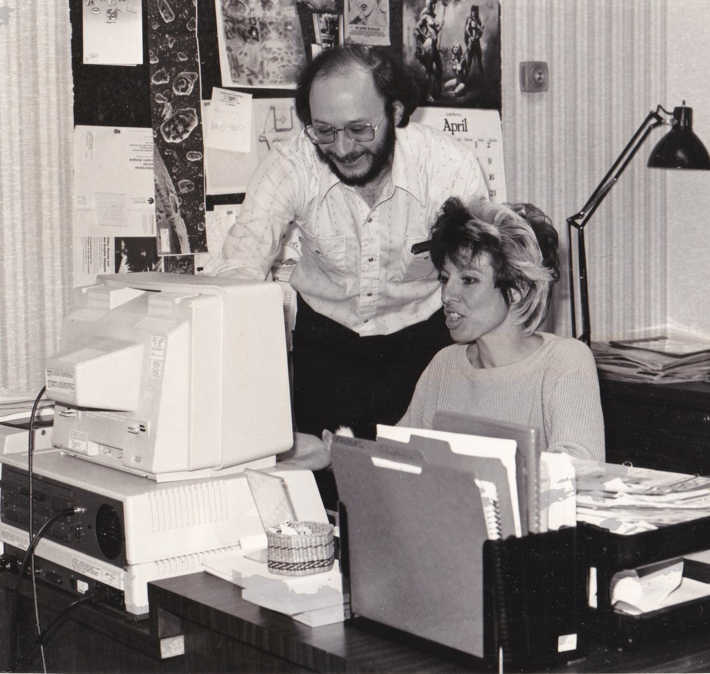 Walter Bilofsky, Cheryl West at Software Toolworks where I worked as Marketing Director in Sherman Oaks, CA. from 1982 to 1984.  Notice the big rig on the desk.