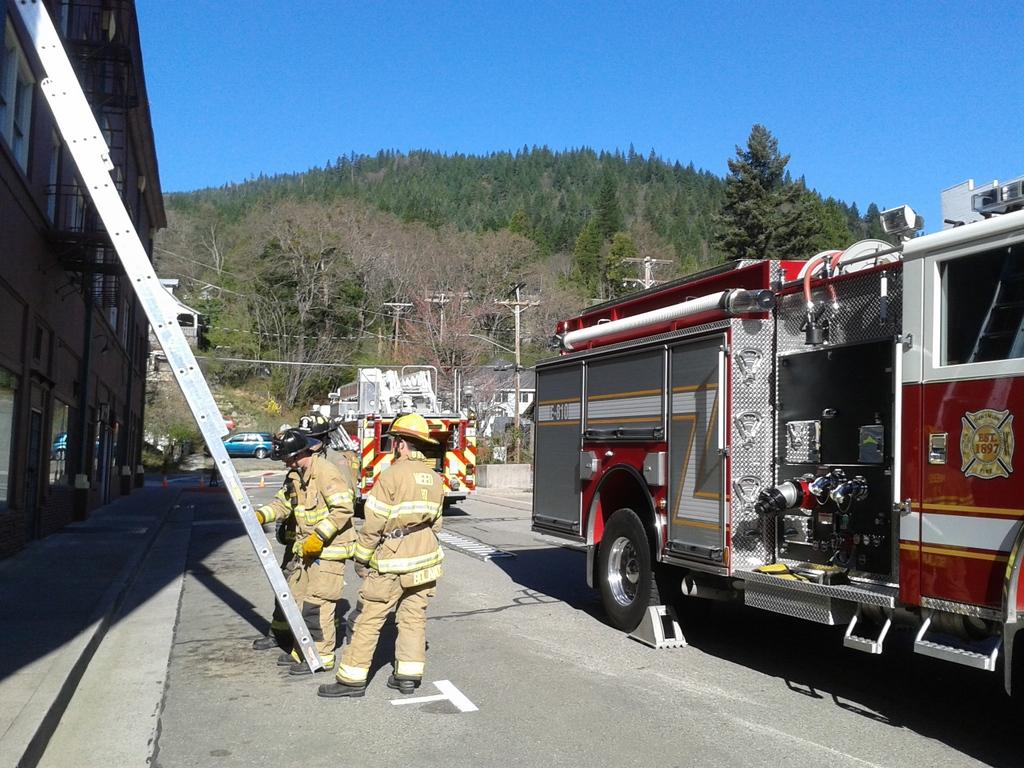 Volunteer fire department drill