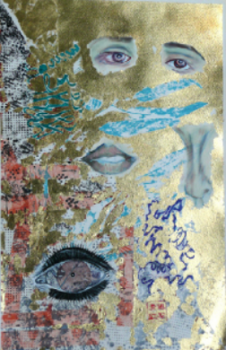 Point of Convergence Disassociation, 24 x 31 inches, collage painting with gold leaf on paper, 2010.