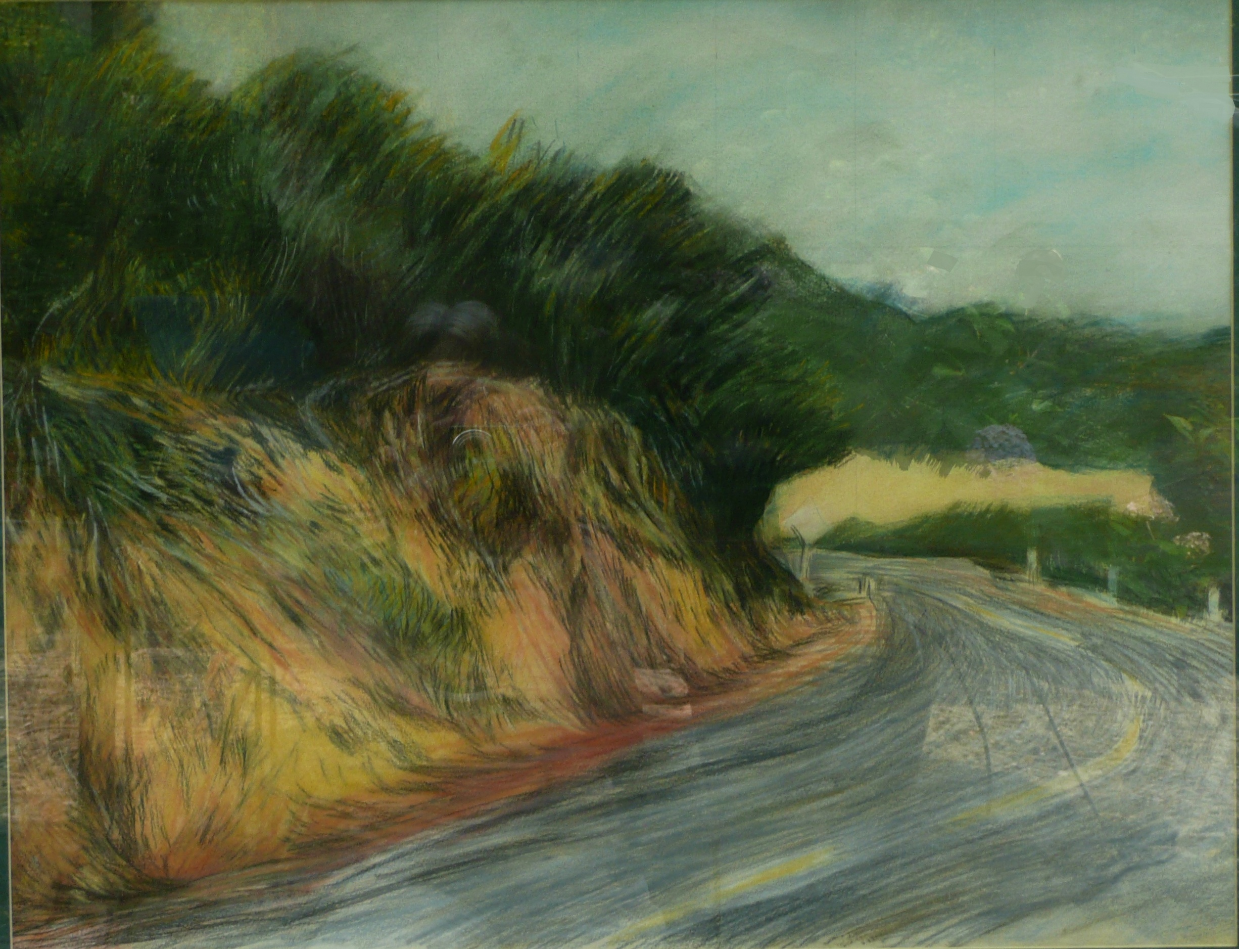 Mulholland Drive    , 31 x 22 inches, 1984, pastel.  White road markers beside and yellow lines on the baked asphalt two-lane road curl and curve into a blind corner.  The winding street in the Santa Monica Mountains behind Hollywood, running all the way to the beach, inspired 2001 American neo-noir mystery film     Mulholland Drive     .