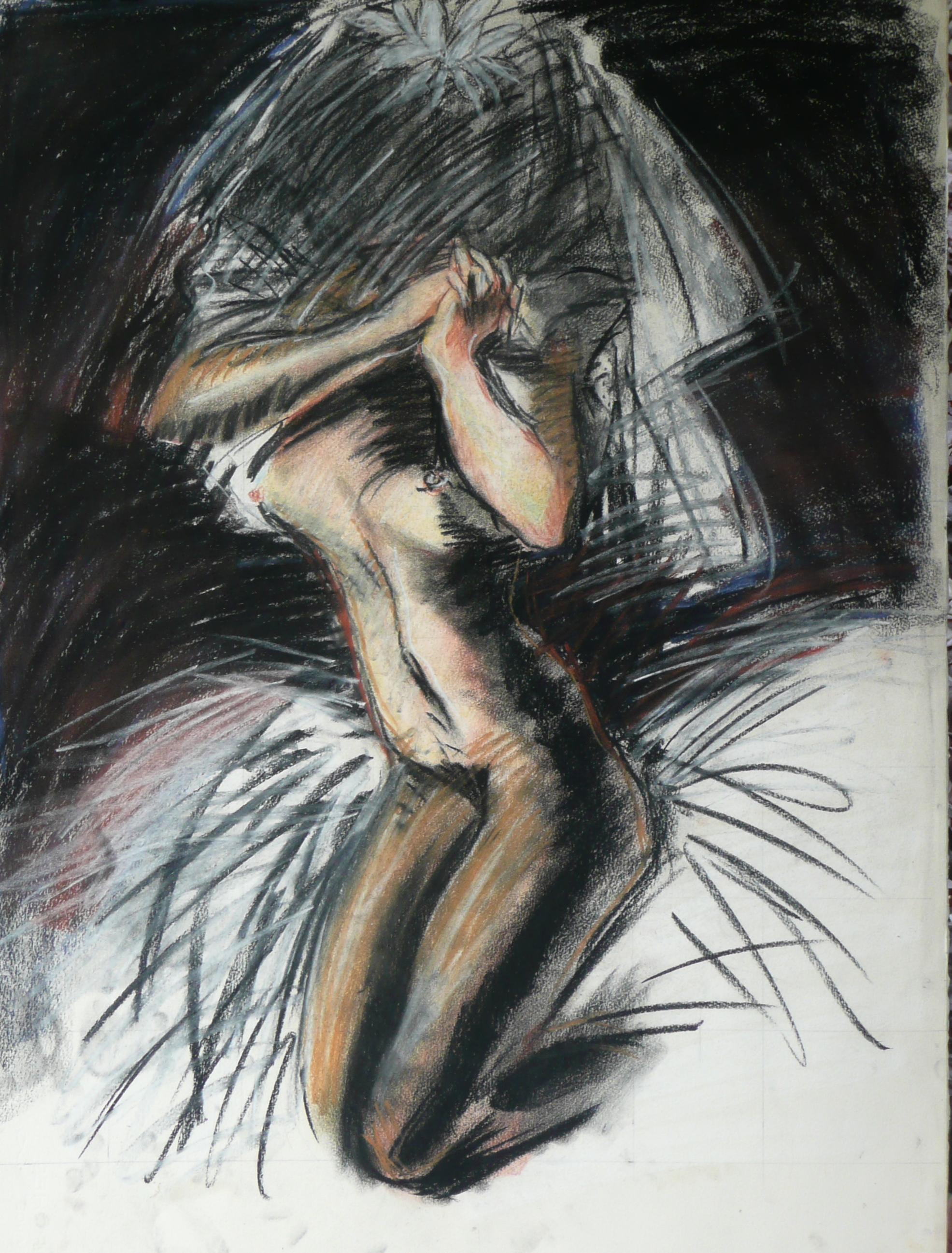 Supplicating Bride    , 22 x 31 inches, 1984, pastel.     One of three studies of the Madonna explores the roles of women and their perceptions:  headless, faceless or monsters.  Would you get married like this?