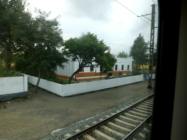 Buildings seen from train
