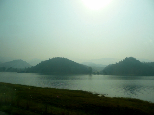 Misty, mounded hills
