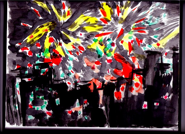Fast sketch of fireworks outside hotel.