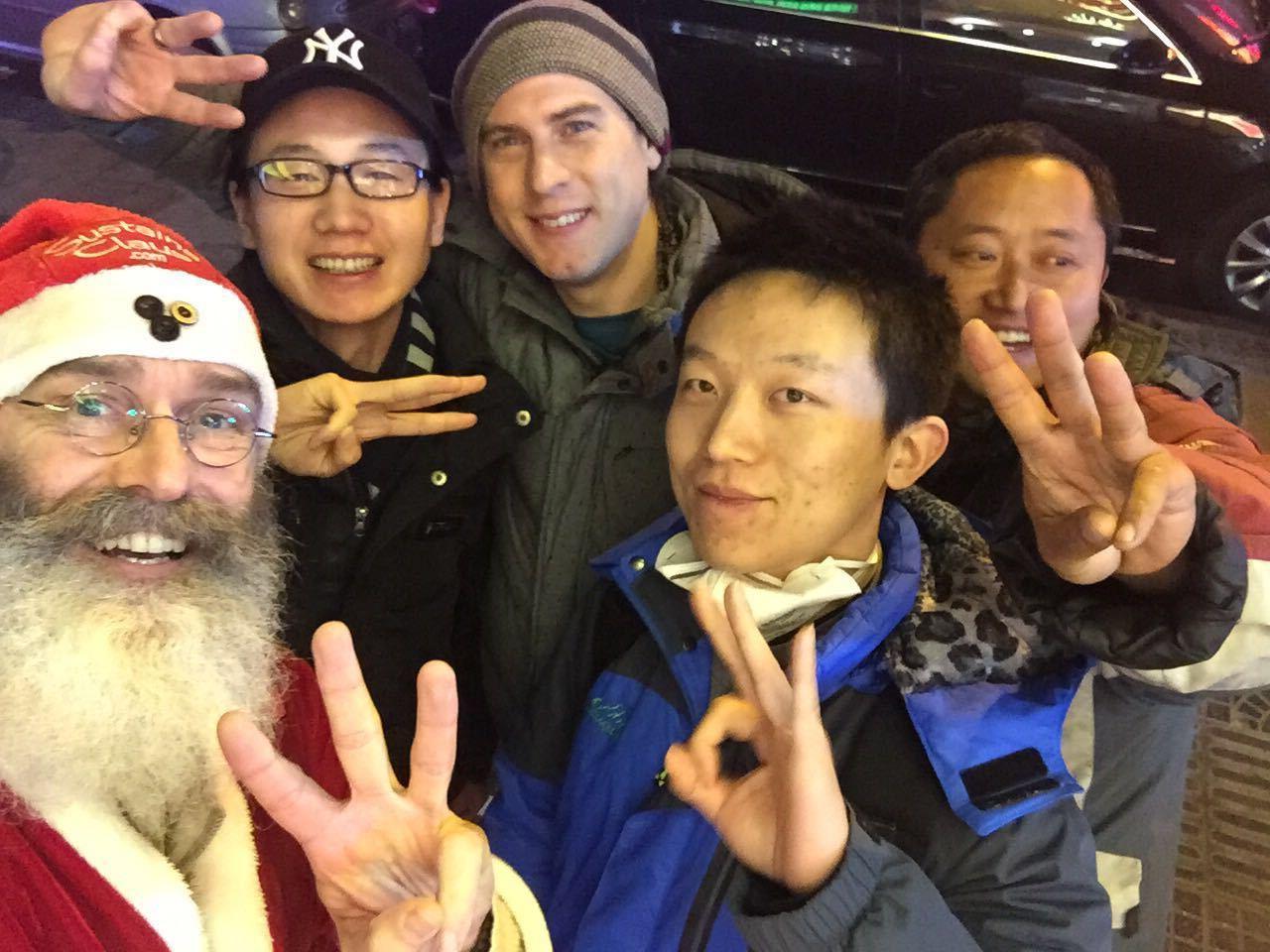 Back row: Jerry Zhang, Jeremiah Bilas; Front row: Phillip McMaster, Jack Lee, Hua Chong Wen at Christmas Dec 25 Predictions Dinner in Beijing
