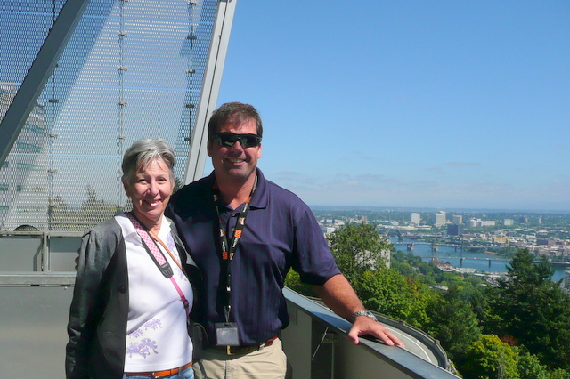 Check out the view from the top. That's me on the left with Ray.