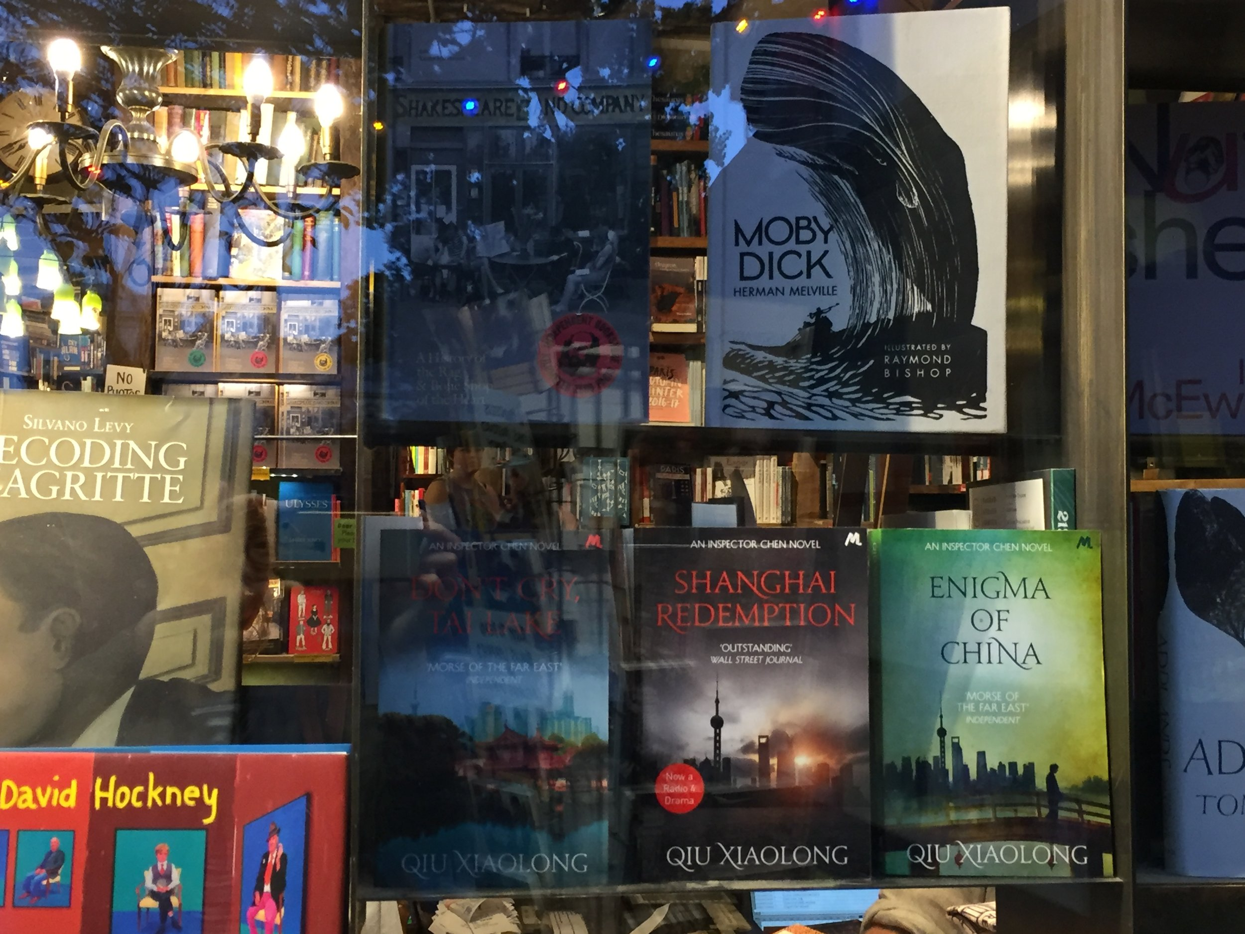 Qiu Xiaolong's books at Shakespeare and Company