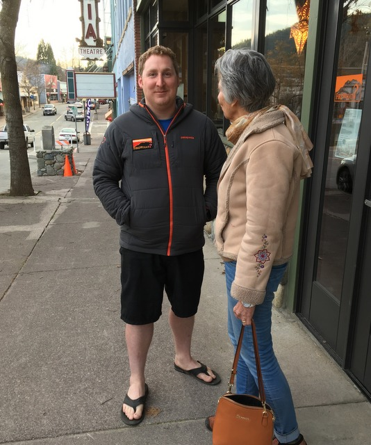 Videographer and Dunsmuir City Councilman, Josh Spurlock, networks on the avenue with Cheryl Petty, HFAT Project Manager.