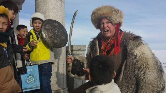 Photo: Don Christian instructs a class in savagery to a young Mongol horde (next generation) at the huge Chenggis Khan museum and monument on the steppes outside Ulaan Bataar. (c) don christian.