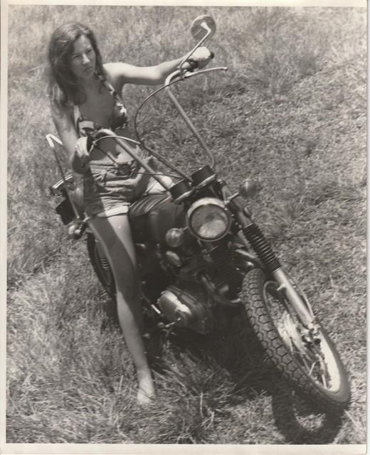 RR#1 Box 82 Haiku, Maui Hawaii 96708:  Cher on her 1967 Honda 350, cut-offs, flip-flops and bikini.