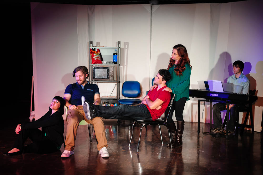 L to R: Deya Ozburn (Susan), Zach Sanders (Hunter), Joel Domenico (Jeff), Amanda Norman (Heidi), and Gregory Smith (Larry).