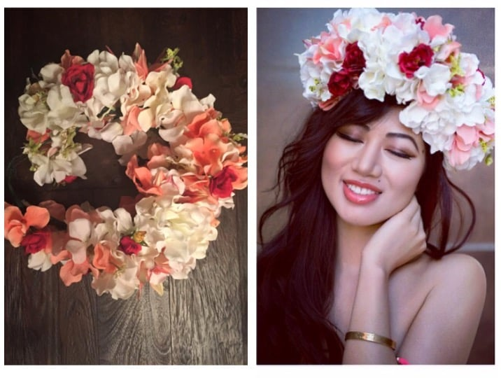 """Flower Crown..."" Available in other colors and flower material = $65 inc. shipping / Others will vary"