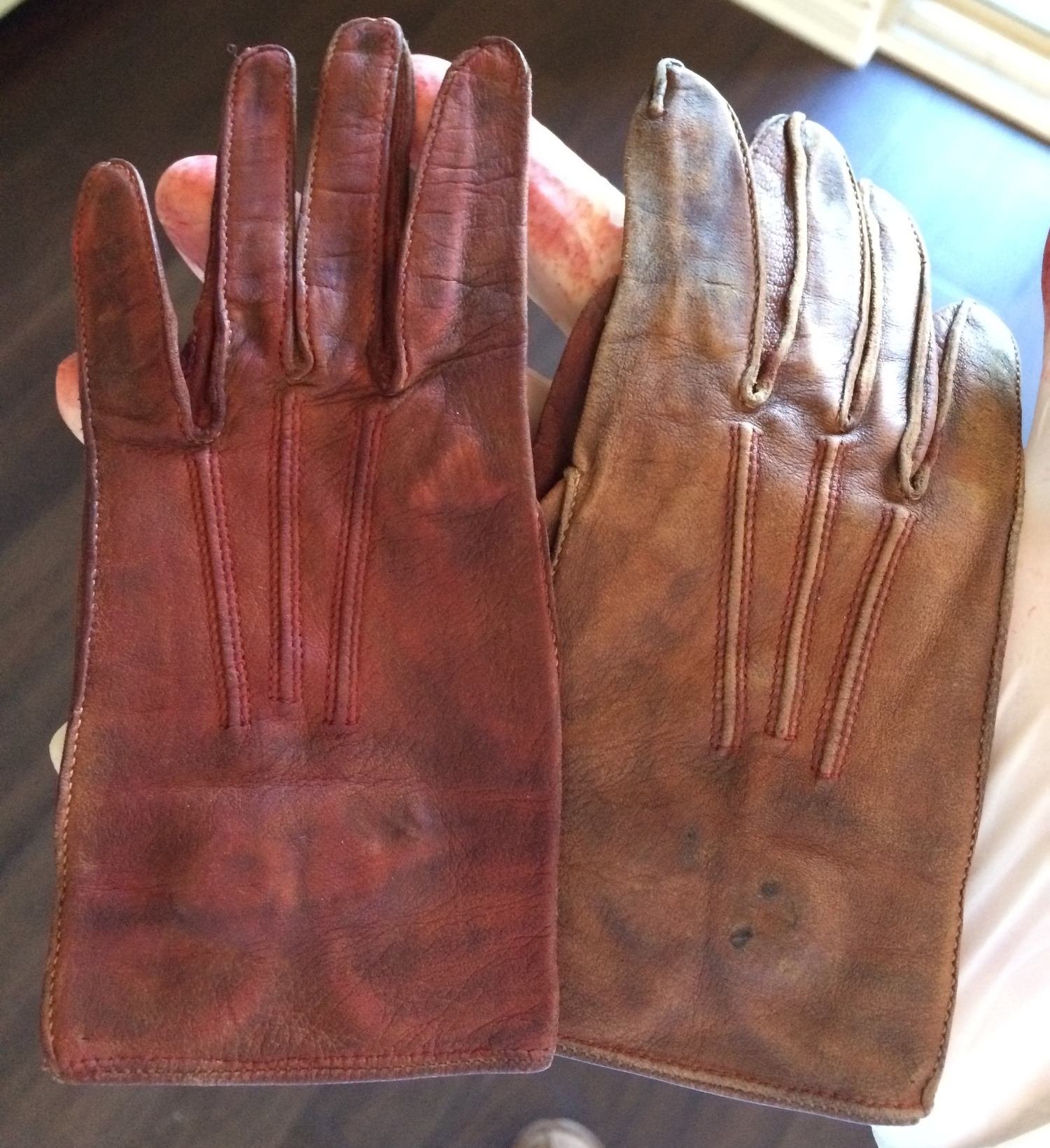 Dyed glove, before (right) and after (left)