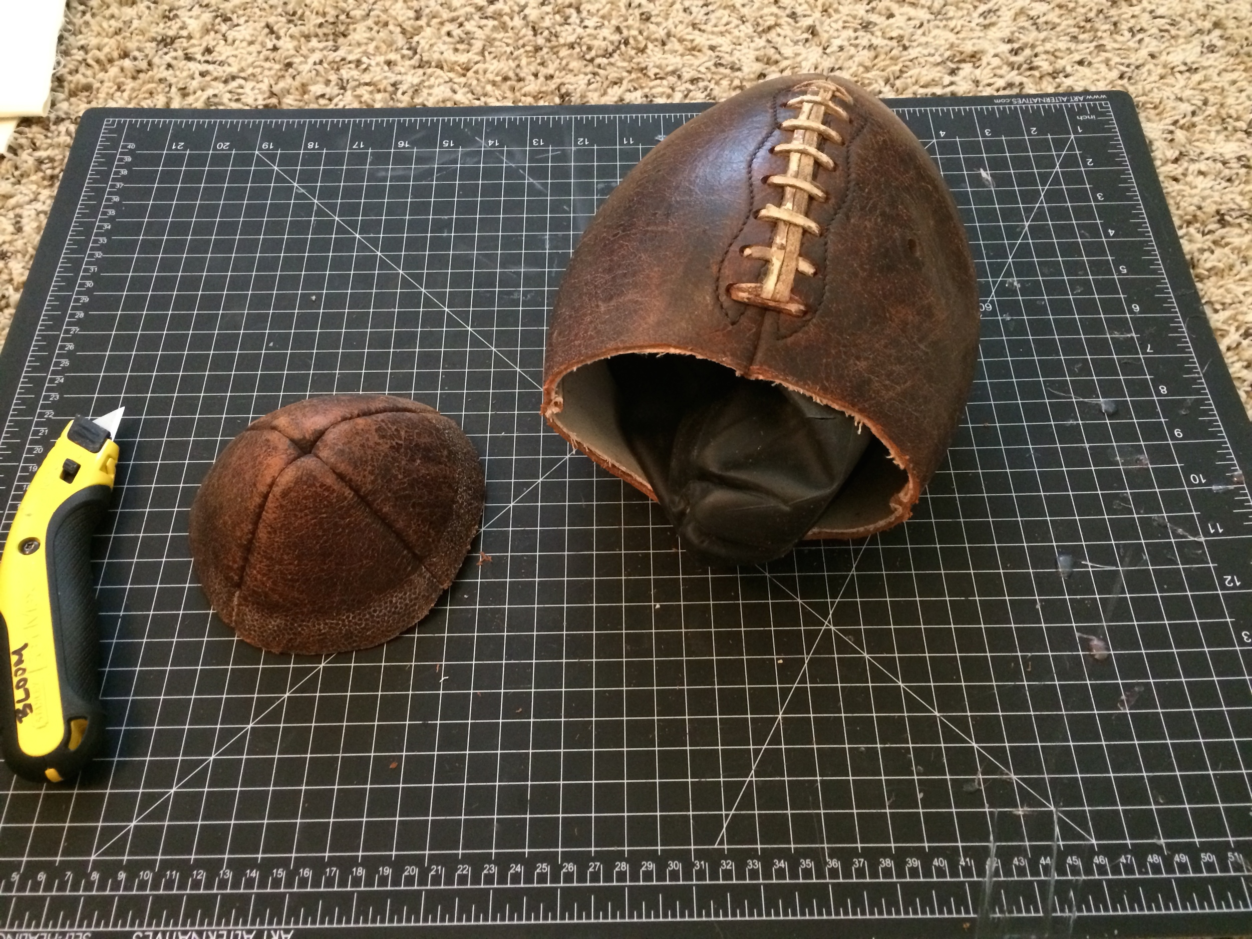 Initial cut into the football