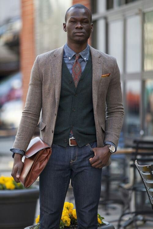 Add a vest, pocket square, and patterned tie with your sportcoat and jeans for that dapper look!