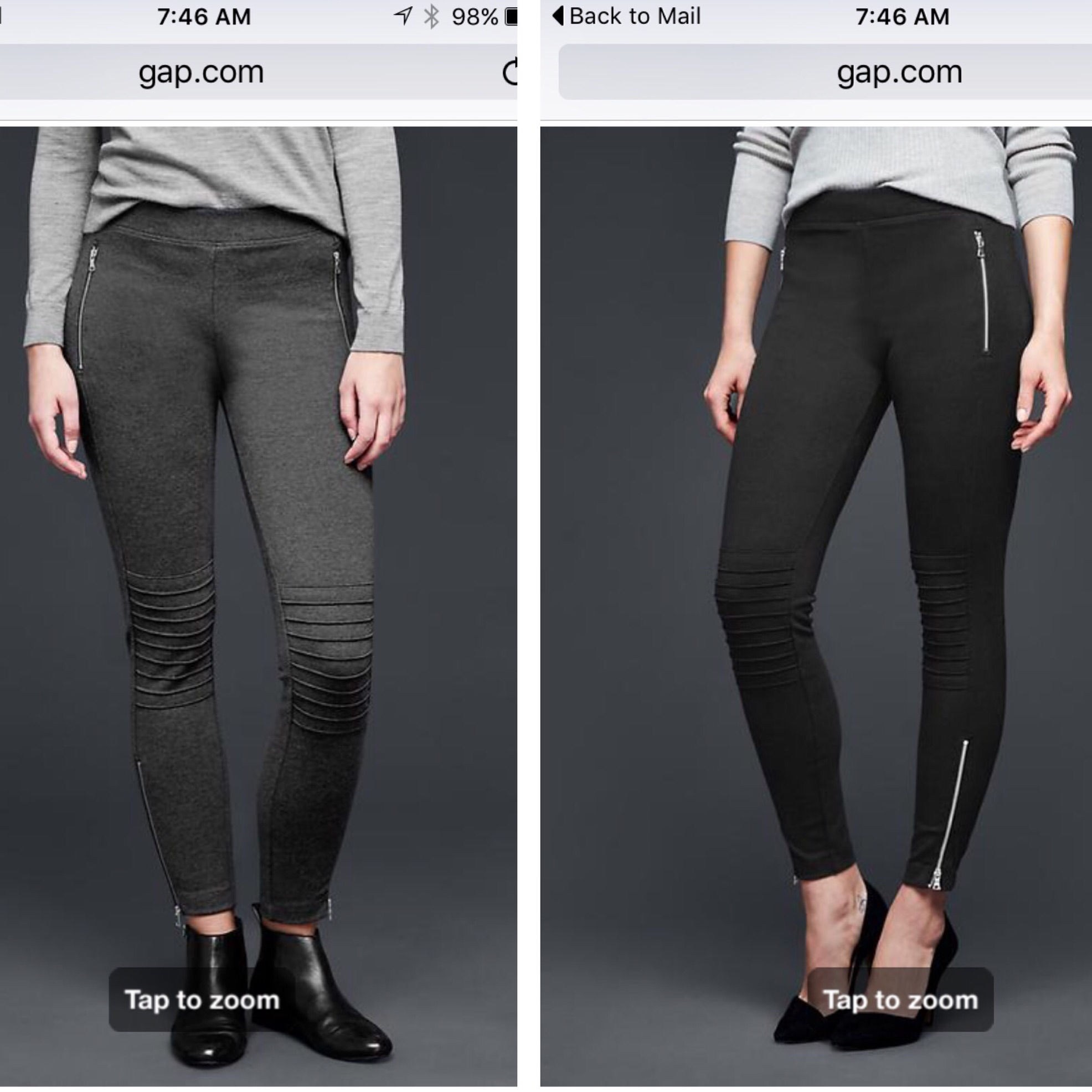 Gap, moto-style ponte knit leggings, $59.95